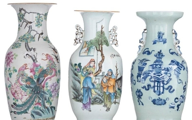 A Chinese famille rose vase, decorated with phoenix, cranes and a lotus pond; added a blue and white on celadon ground vase, decorated with antiquities; extra added a qianjiang cai vase, decorated with an animated scene and a signed text, H 43 - 46 cm