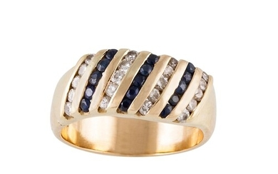 A DIAMOND AND SAPPHIRE DRESS RING, set with lines of alterna...