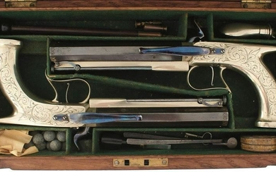 A FINE CONDITION CASED PAIR OF 50-BORE GERMAN SILVER