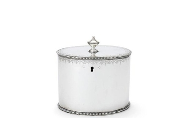 A George III silver straight-sided oval tea caddy probably by Samuel Wood