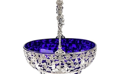 A German silver 800/1000 handle basket - late 19th Century...