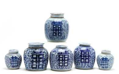 A Group of Chinese Blue and White Ginger Jars
