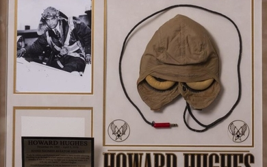 A HOWARD HUGHES SIGNED AVIATOR'S FLIGHT CAP mounted in...
