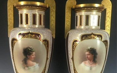 A LARGE PAIR OF 19TH CENTURY BOHEMIAN GLASS VASES