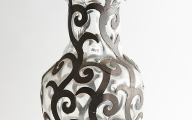 A LARGE WROUGHT IRON CAGED GLASS VASE, 56 CM HIGH, LEONARD JOEL LOCAL DELIVERY SIZE: SMALL