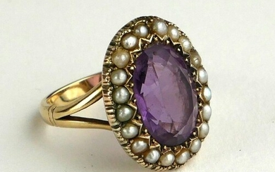 A LATE 19TH/EARLY 20TH CENTURY AMETHYST AND SEED PEARL RING ...