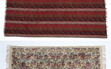 A Late Victorian Chenille Table Rug, decorated overall with rust...
