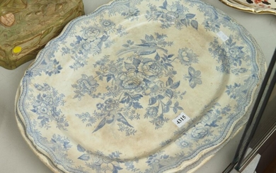 A PAIR OF 19TH CENTURY BLUE AND WHITE ASIATIC PHEASANT MEAT PLATES