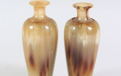 A PAIR OF CHINESE HORN MINIATURE VASES ON STANDS,