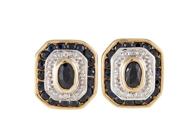 A PAIR OF DIAMOND AND SAPPHIRE CLUSTER EARRINGS, the collet ...