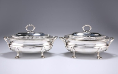 A PAIR OF GEORGE III SILVER SAUCE TUREENS, probably by