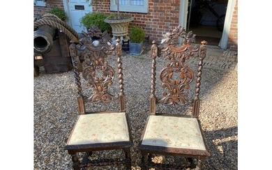 A PAIR OF LATE VICTORIAN OAK CAROLEAN STYLE STANDARD CHAIRS ...