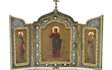 A PARCEL-GILT SILVER AND PEARL-SET TRIPTYCH ICON, OLOVYANISHNIKOV AND SONS, MOSCOW, 1908-1917