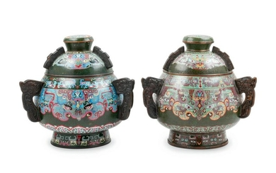 A Pair of Chinese Export Cloisonne Enameled Vessels