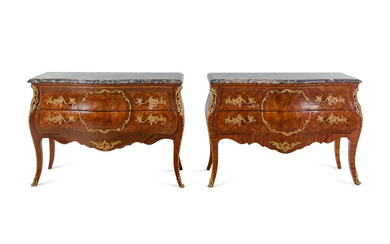 A Pair of Louis XV Style Gilt Bronze Mounted Sans Traverse Marquetry and Parquetry Marble-Top Bombe Commodes