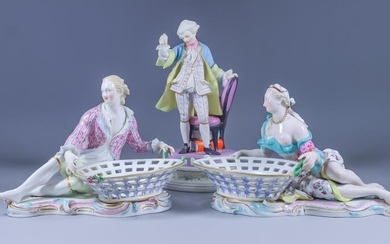 A Pair of Meissen Porcelain Figural Sweetmeat Dishes, Late...