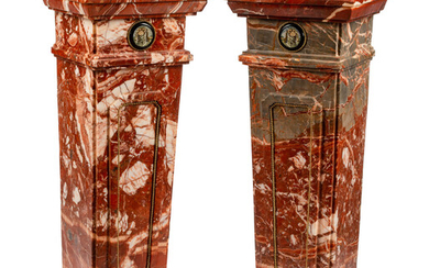 A Pair of Micromosaic Mounted Marble Pedestals
