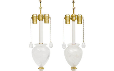 A Pair of Rock Crystal Urn Form Lamps