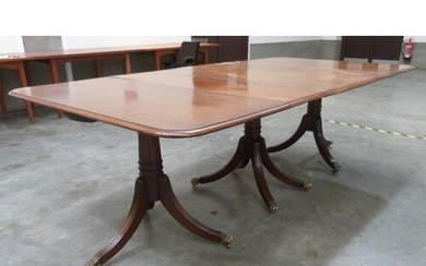 A Regency style mahogany triple pedestal dining table, exten...