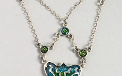 A SILVER AND ENAMEL ART DECO STYLE NECKLACE.
