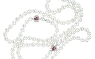 A SOUTH SEA PEARL, SAPPHIRE AND DIAMOND NECKLACE