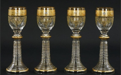 A Set of Eleven Enameled and Gilt Decorated Rhine Wine