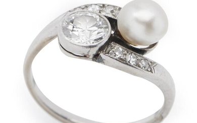 A 'TOI ET MOI' CULTURED PEARL AND DIAMOND RING