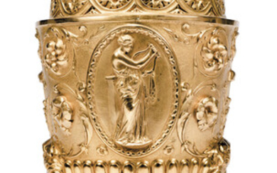 A VICTORIAN 'NEO-CLASSICAL' GILT-METAL VASE AND COVER