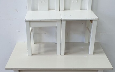 A WHITE PAINTED CHILD'S TABLE AND TWO CHAIRS