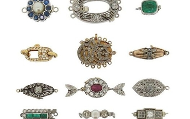 A collection of fifteen gem-set clasps, including a...