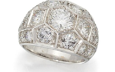 A diamond cluster ring, of brilliant-cut diamond...