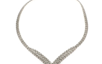 A diamond necklace set with numerous brilliant-cut diamonds, mounted in 18k white gold with satin finish. L. 37 cm.