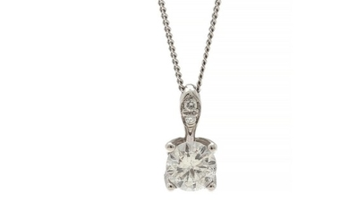 A diamond pendant set with a brilliant-cut diamond weighing 0.50 ct. encircled by numerous diamonds totalling app. 0.10 ct., mounted in 14k white gold. L. 45.5