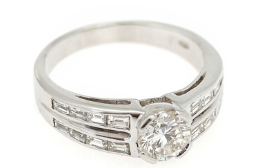 NOT SOLD. A diamond ring set with a brilliant-cut diamond weighing app. 0.80 ct. flanked...