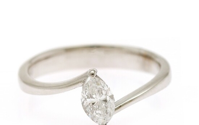 A diamond ring set with a marquise-cut diamond weighing app. 0.65 ct., mounted in 14k white gold. Size 55.5.