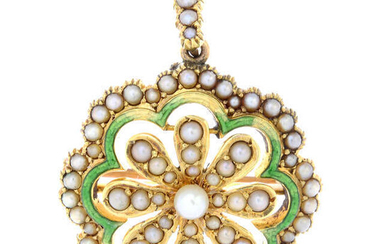 A early 20th century 15ct gold seed, split pearl and green enamel floral pendant brooch.