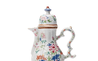 A famille rose coffee pot with cover, Qing dynasty, Qianlong (1736-95).