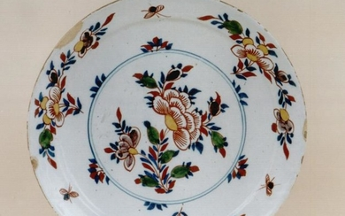 A fine mid 18th century Dutch delft pancake plate with