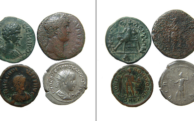 A group of 4 Roman bronze and silver coins