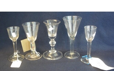 A group of assorted Georgian style wine glasses to include; ...