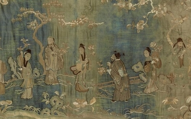 A large embroidered silk panel. 19th century