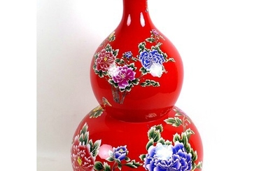 A large modern Chinese porcelain double gourd vase, with pri...