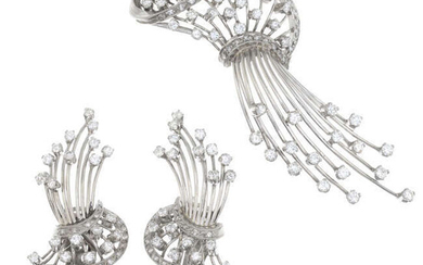 A mid 20th century brilliant-cut diamond brooch, with matching earrings.