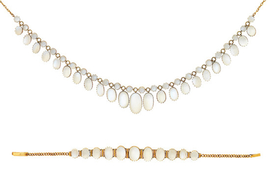 A moonstone necklace and bracelet
