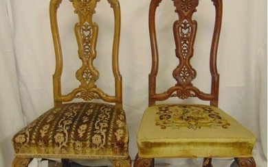 A pair of continental mahogany hall chairs with upholstered ...