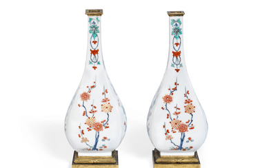 A pair of late 19th century French gilt bronze mounted Samson porcelain vases