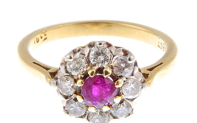 A ruby and diamond floral cluster ring.