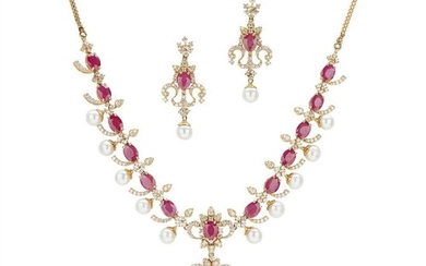 A ruby, diamond and pearl set pendant necklace and pair of pendant earrings