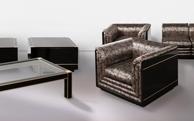 A sofa, two chairs, one glass table and two coffee tables, fabric / alabaster / metal / plastic (5)