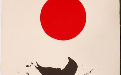 """ADOLPH GOTTLIEB (AMER, 1903-74), SERIGRAPH IN COLORS ON ARCHES PAPER, 1966, H 30"""" W 22.375"""", WHITE GROUND, RED DISC"""
